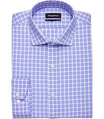 esquire lavender & blue plaid slim fit dress shirt