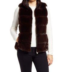 women's via spiga faux fur reversible vest, size large - red