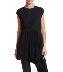 pleated asymmetric crepe a-line blouse