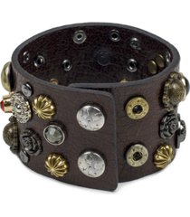 patricia nash two-tone studded leather cuff bracelet