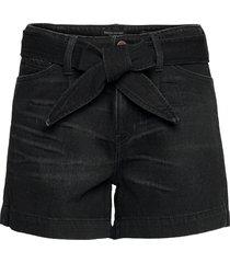 high-rise pleated 4'''' jean short shorts denim shorts svart banana republic