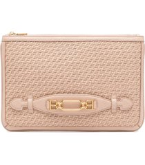 bally vask leather interwoven wallet - pink