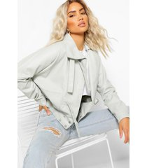 oversized nepleren jas met hoge hals, grey