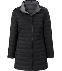 keerbare doorgestikte jas lichte wattering van basler zwart
