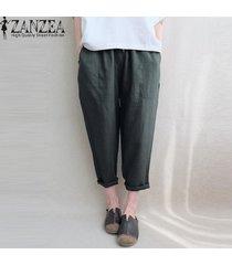 zanzea pantalones de lino de algodón bolsillos laterales de cintura elástica pantalones largos sólidos -verde oscuro