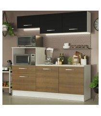 cozinha compacta madesa onix 180001 com armário e balcão branco/rustic/preto cor:branco/rustic/preto