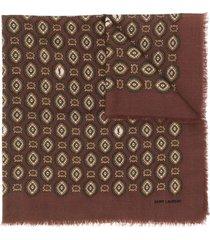 saint laurent bandana print frayed scarf - brown