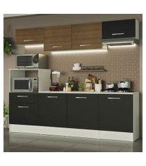 cozinha completa madesa onix 240002 com armario e balcão branco/preto/rustic 09d8 branco/preto/rustic