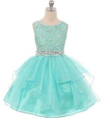 mint lace bodice asymmetric ruffles tulle skirt rhinestones flower girl dress