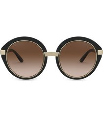 tory burch round frame sunglasses with metal arm - black