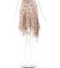 isabel marant omyles multicolor floral silk draped skirt multicolor/floral print sz: s