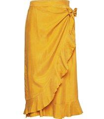 skirt w. ruffles and tieband detail knälång kjol gul coster copenhagen