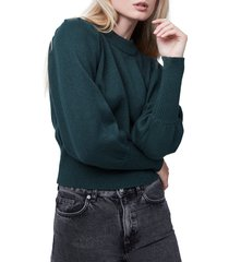 women's french connection puff sleeve crop sweater, size large - green