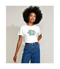 "t-shirt feminina mindset be fearless"" manga curta decote redondo off white"""