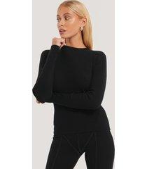 na-kd basic ribbstickad tröja med rund halsringning - black