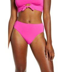 women's robin piccone ava high waist bikini bottoms, size x-small - pink