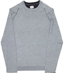 c.p. company grey knitted ls tee