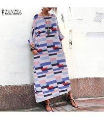 zanzea vestido largo geométrico de camisa de mujer vestido largo suelto informal de kaftan tallas grandes -azul