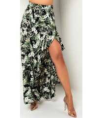 akira be honest tropical print slit skirt