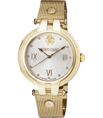 roberto cavalli by franck muller women's diamond swiss quartz gold-tone stainless steel bracelet watch, 40mm