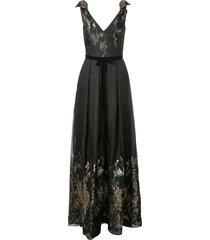 marchesa notte metallic finish full length dress - black