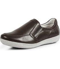 sapatênis conforto calce fácil couro por dentro e por fora pierrô cor marrom escuro
