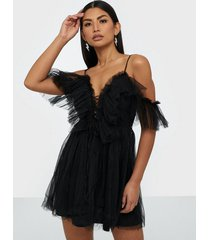 parisian sheer mesh cold shoulder ruffle dress skater dresses