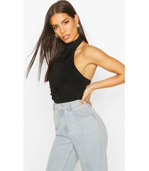 rib halter neck top with ruffle front