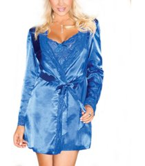 women's silky soft satin wrap robe with lace trims and sash