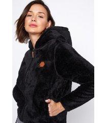 chaqueta peluda doble cierre gorro negro family shop