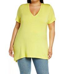 plus size women's halogen v-neck t-shirt, size 1x - yellow
