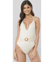 na-kd swimwear ribbed buckle swimsuit - white