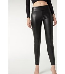calzedonia thermal leather effect leggings woman black size m