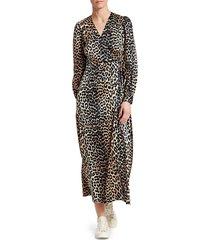 ganni women's stretch silk satin leopard wrap dress - leopard - size 40 (8)