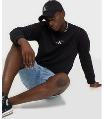 calvin klein jeans center monogram crew neck tröjor black