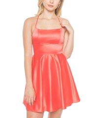 b darlin juniors' lace-up back fit & flare dress