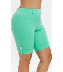 plus size pockets cuffed shorts