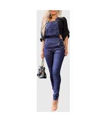 macacão calça jeans jardineira feminina