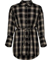 parker shirt dress kort klänning svart mother of pearl