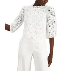 inc cotton lace puff-sleeve blouse, created for macy's