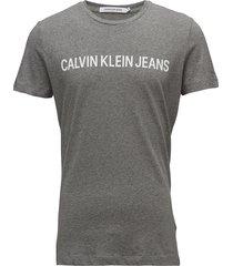 core institutional logo slim tee t-shirts short-sleeved grå calvin klein jeans