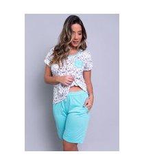pijama bella fiore modas estampado com bolso hadassa verde água