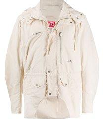 diesel red tag multi-pocket hooded jacket - neutrals