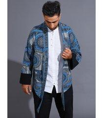 abrigo casual estilo étnico para hombre cárdigan tribal estampado en toda la prenda