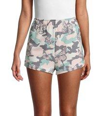 wildfox women's havi camo & butterfly-print shorts - size s
