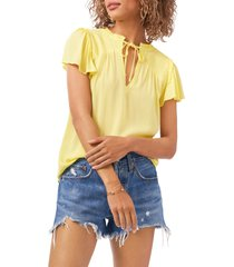 1.state 1. state tie front flutter sleeve gauze top, size x-small in citrus yellow at nordstrom