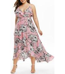 plus size cami split flounce maxi dress