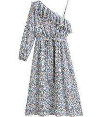 asymmetrisk, blommig klänning med en ärm