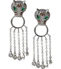 cz by kenneth jay lane women's animal trend rhodium-plated & crystal drop earrings