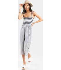 corina striped jumpsuit - white